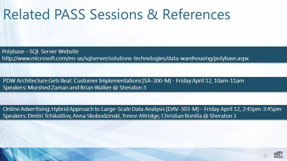 Related PASS Sessions & References