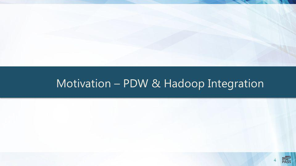 Motivation – PDW & Hadoop Integration