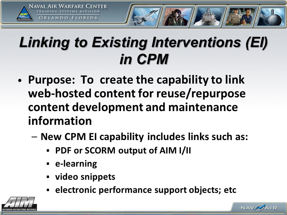 Linking to Existing Interventions (EI) in CPM