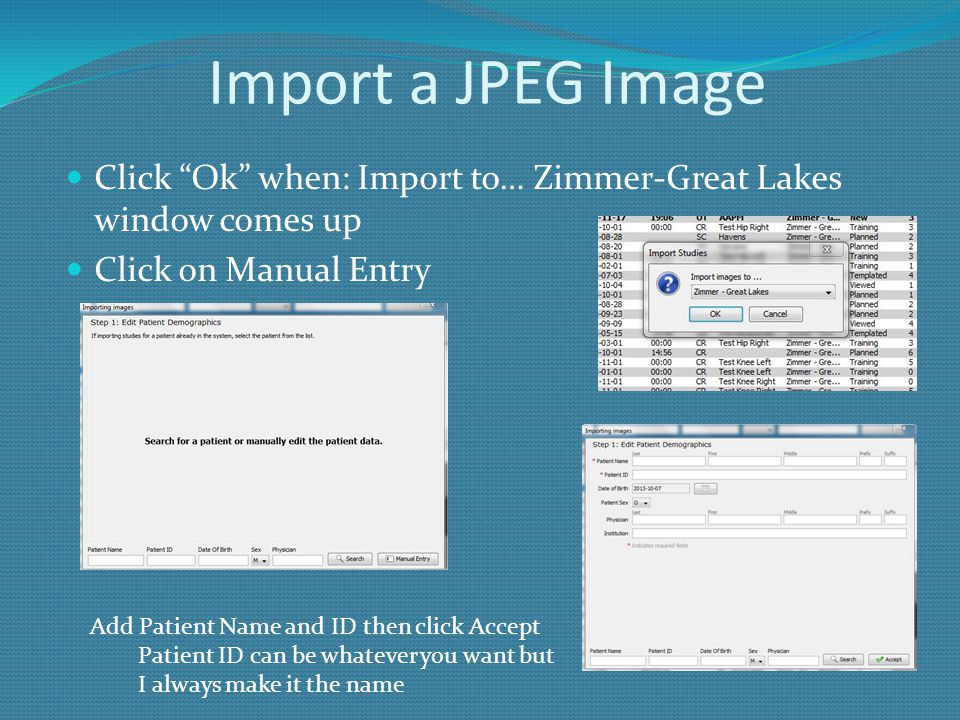 Import a JPEG Image Click Ok when: Import to… Zimmer-Great Lakes window comes up. Click on Manual Entry.