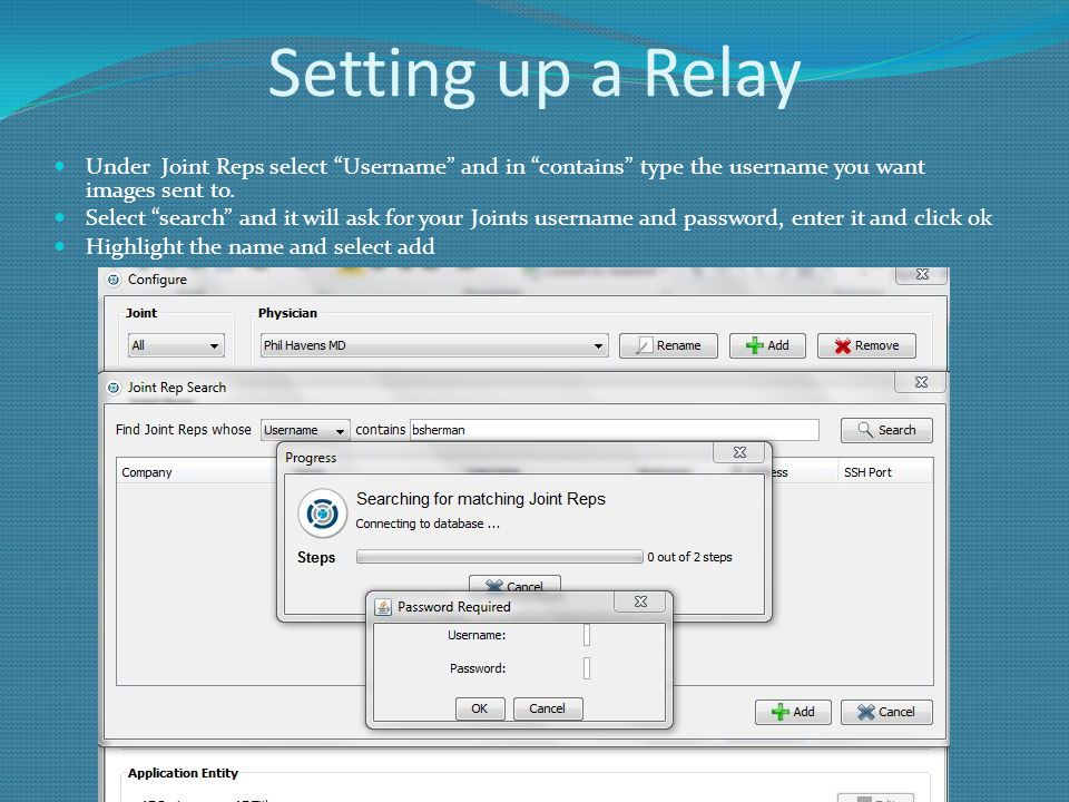Setting up a Relay Under Joint Reps select Username and in contains type the username you want images sent to.