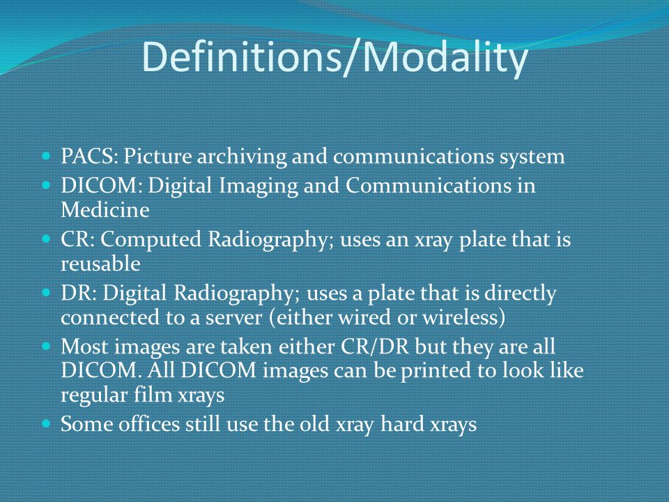 Definitions/Modality