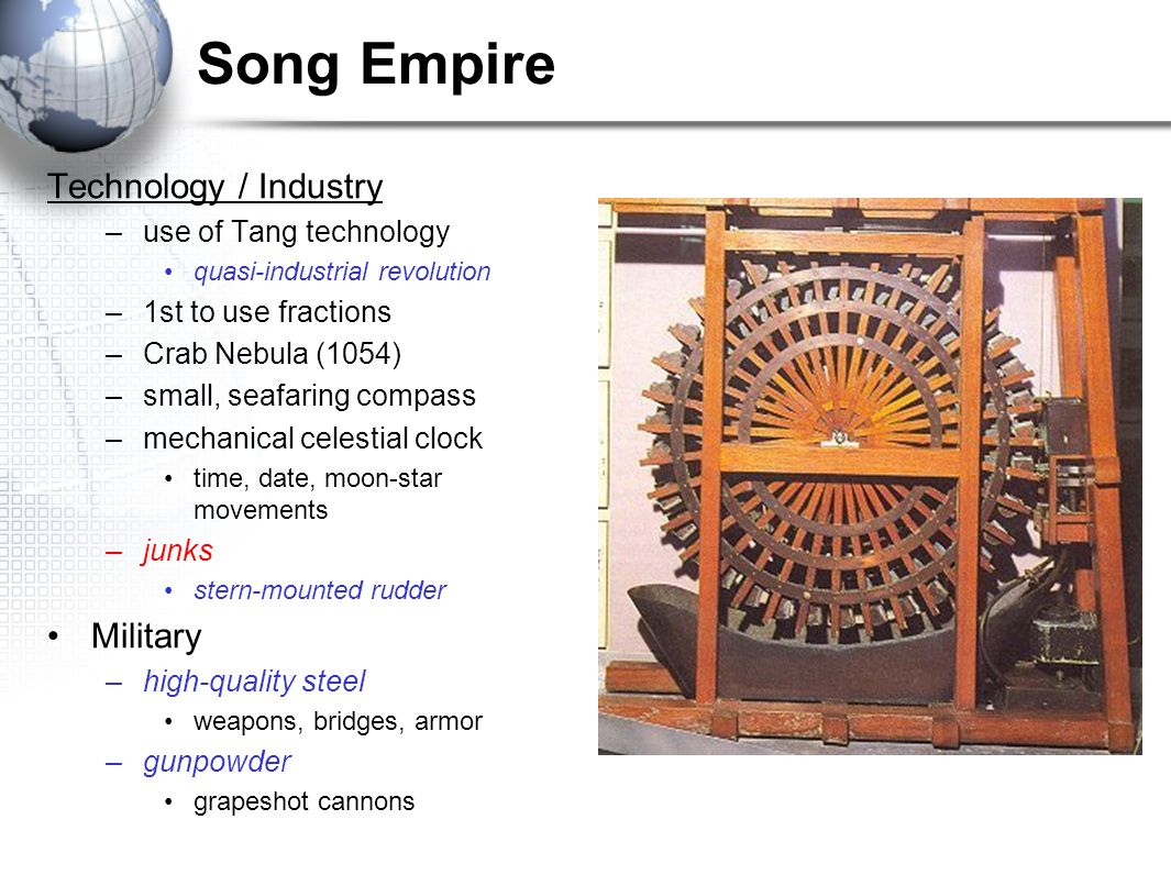 Song Empire Technology / Industry Military use of Tang technology