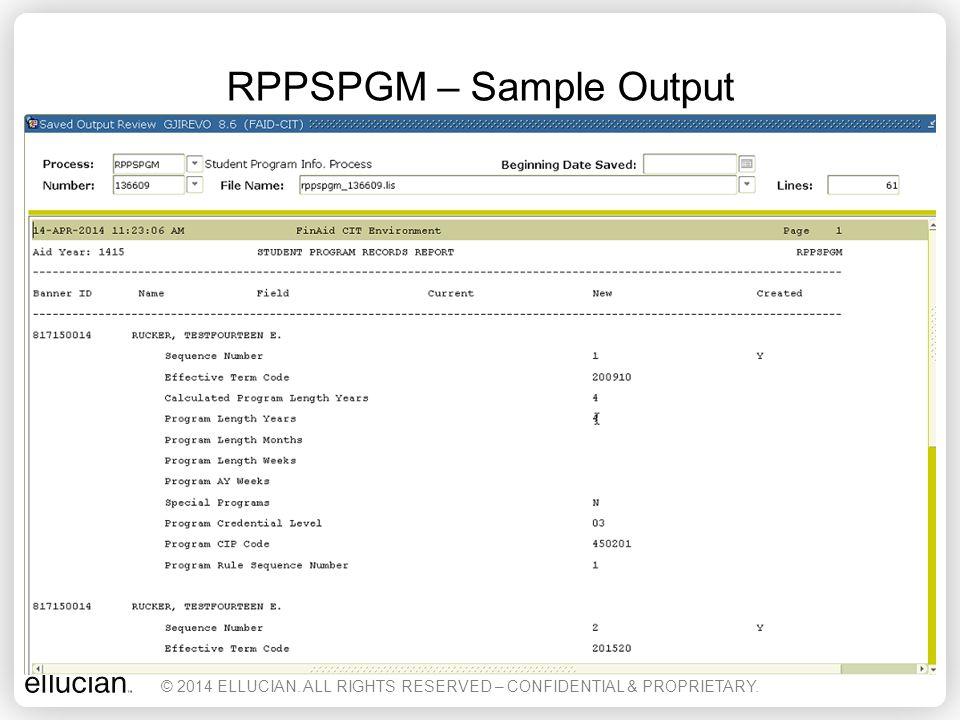 RPPSPGM – Sample Output