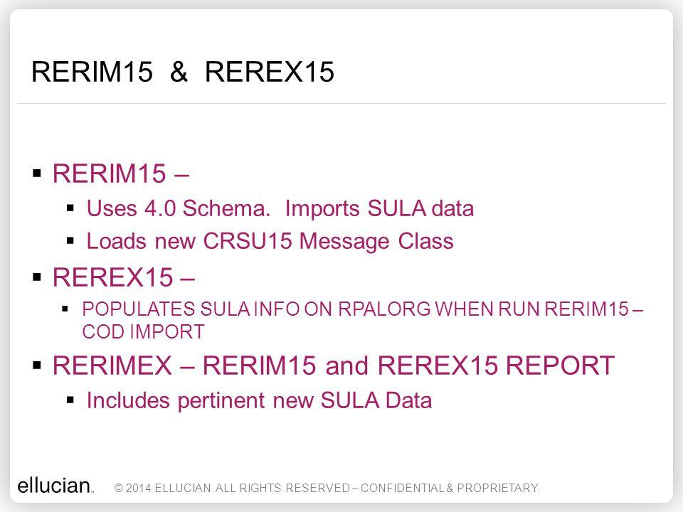 RERIM15 & REREX15 RERIM15 – REREX15 –