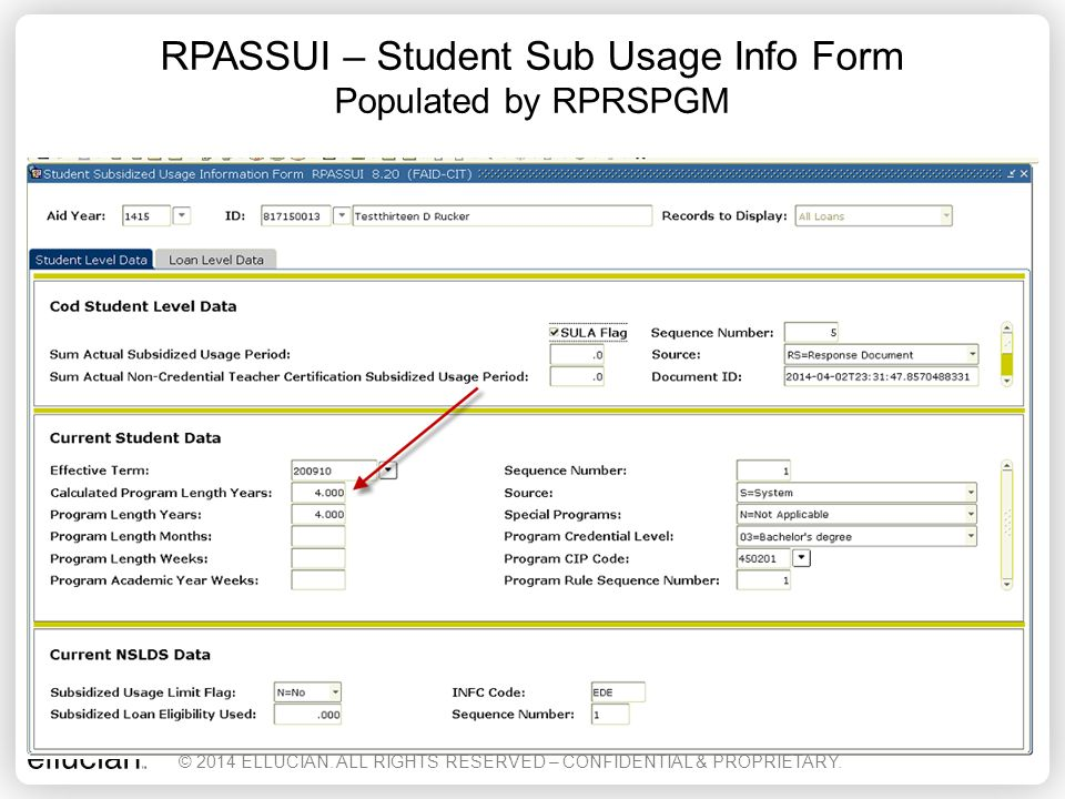 RPASSUI – Student Sub Usage Info Form Populated by RPRSPGM