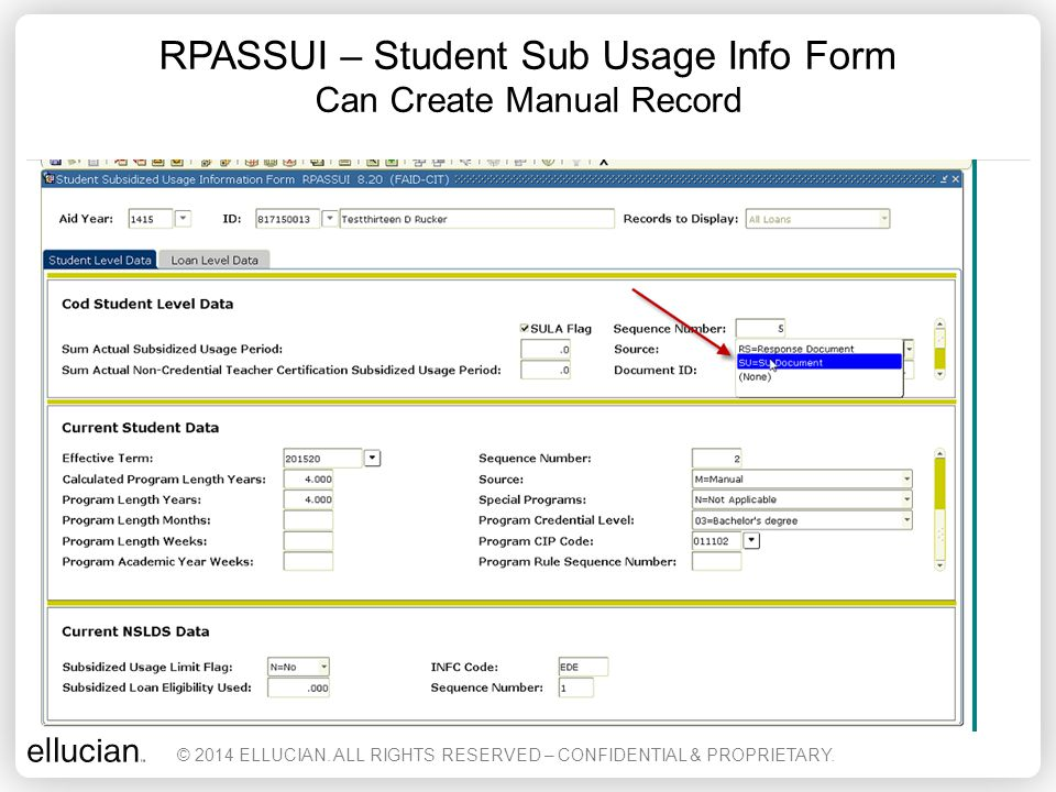 RPASSUI – Student Sub Usage Info Form Can Create Manual Record