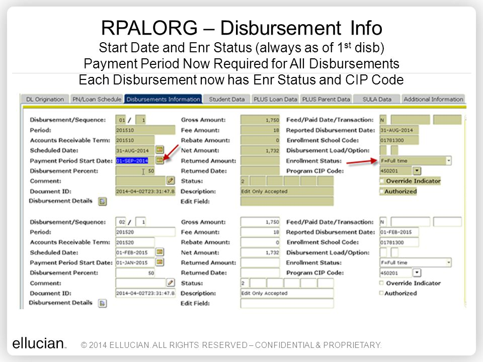 RPALORG – Disbursement Info Start Date and Enr Status (always as of 1st disb) Payment Period Now Required for All Disbursements Each Disbursement now has Enr Status and CIP Code