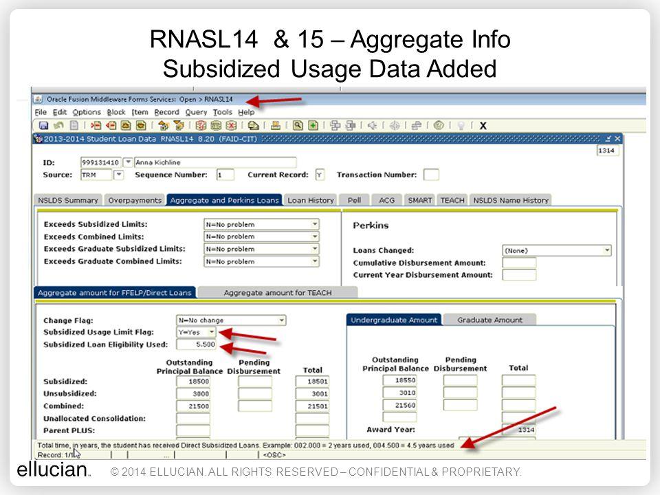 RNASL14 & 15 – Aggregate Info Subsidized Usage Data Added