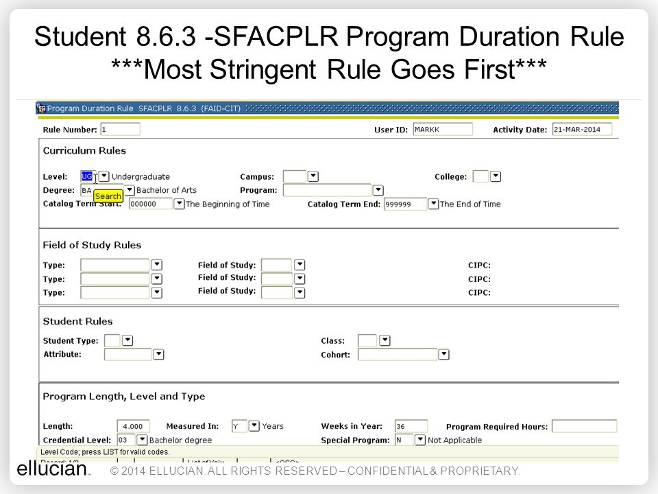 Student 8. 6. 3 -SFACPLR Program Duration Rule