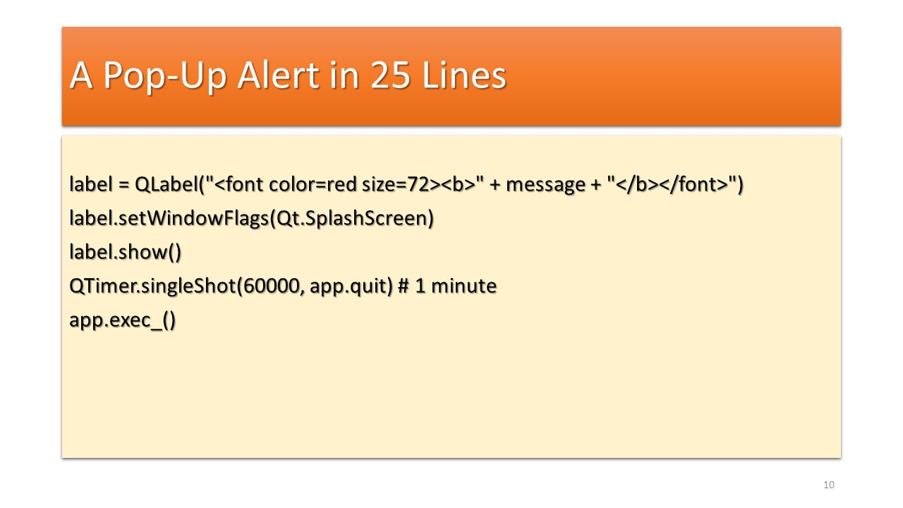 A Pop-Up Alert in 25 Lines