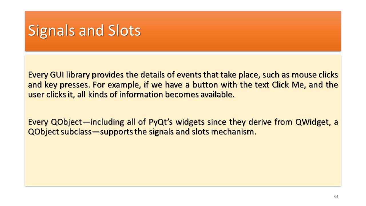 Signals and Slots