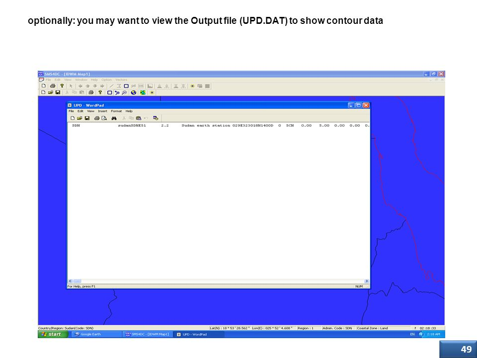 Step Six optionally: you may want to view the Output file (UPD.DAT) to show contour data