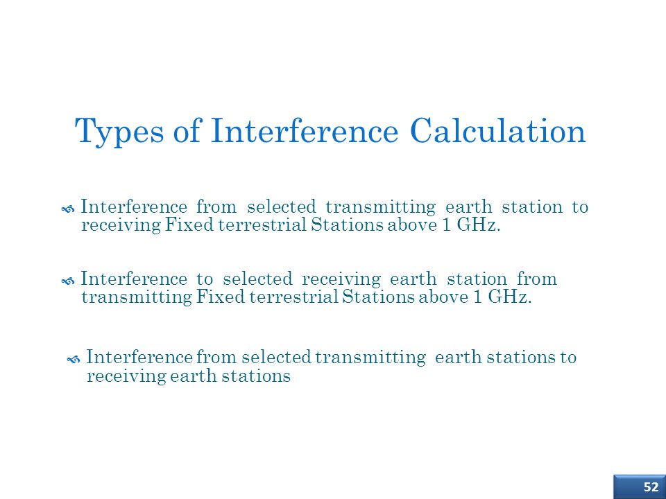 Types of Interference Calculation