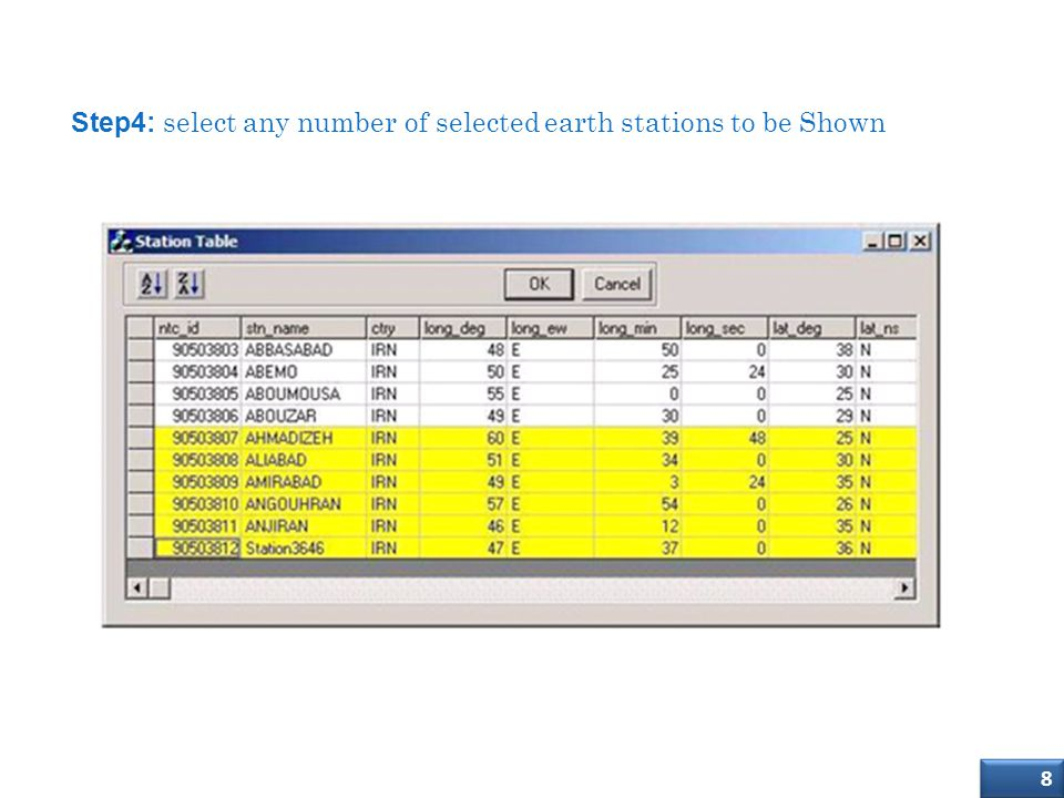 Import (SRS) Database into SMS4DC Step4: select any number of selected earth stations to be Shown