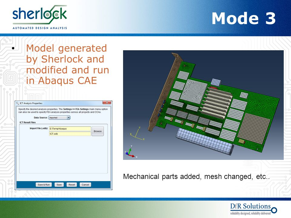 Mode 3 Model generated by Sherlock and modified and run in Abaqus CAE