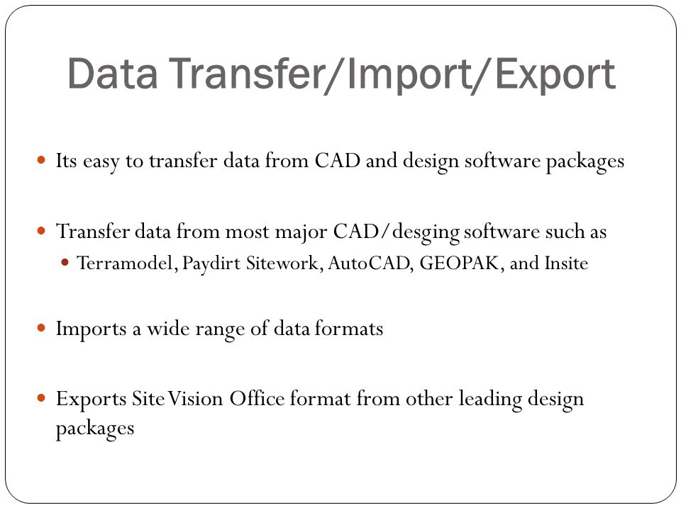 Data Transfer/Import/Export