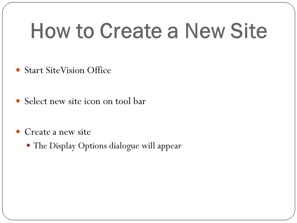 How to Create a New Site Start SiteVision Office