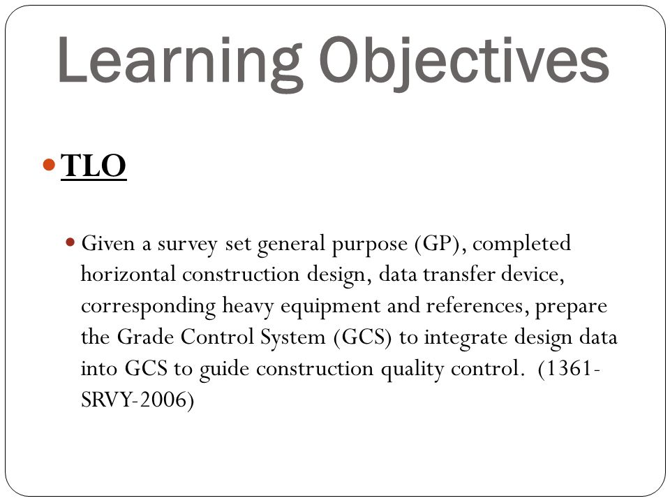 Learning Objectives TLO
