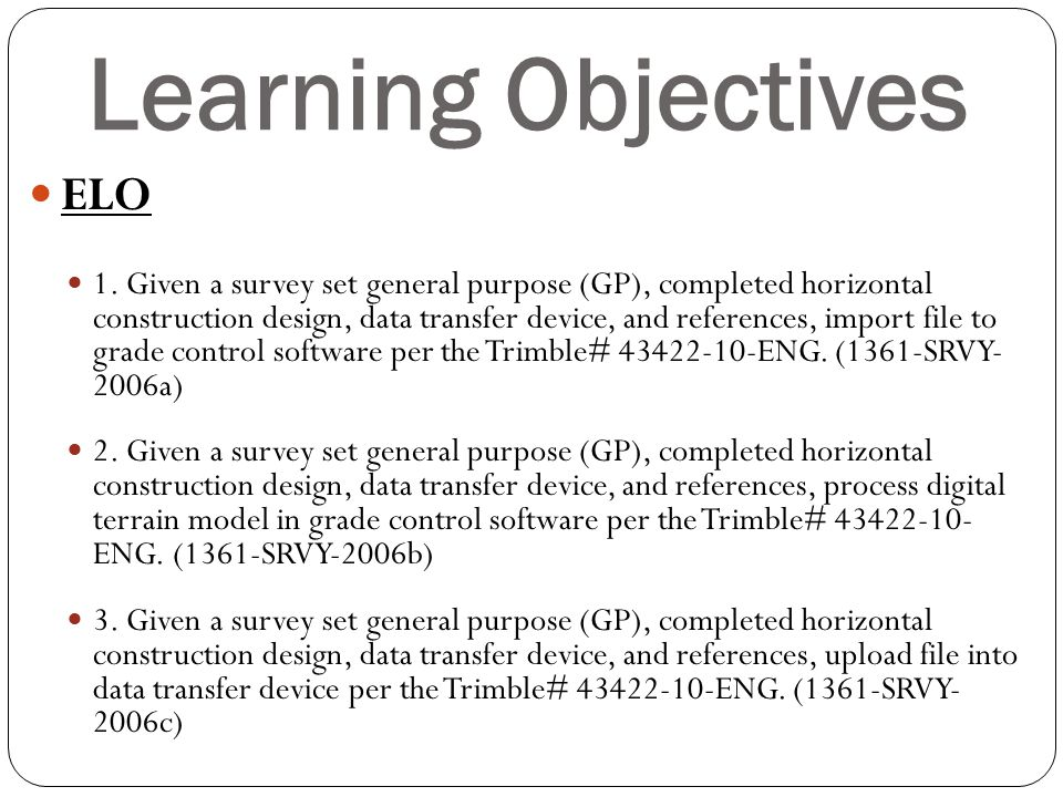Learning Objectives ELO