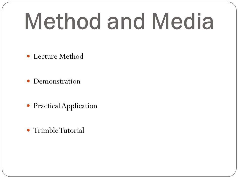 Method and Media Lecture Method Demonstration Practical Application