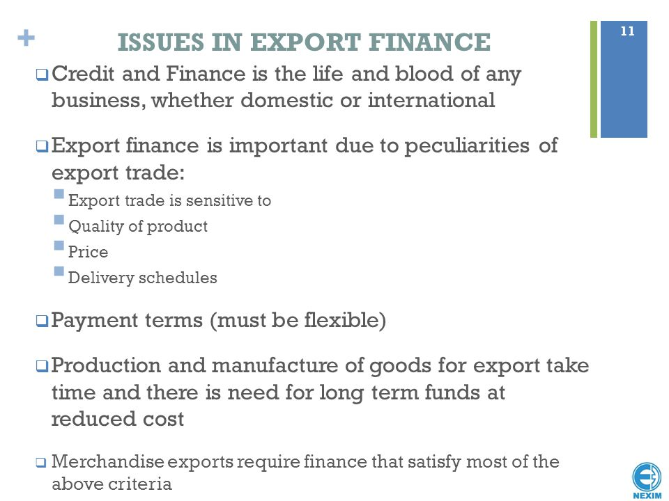 ISSUES IN EXPORT FINANCE