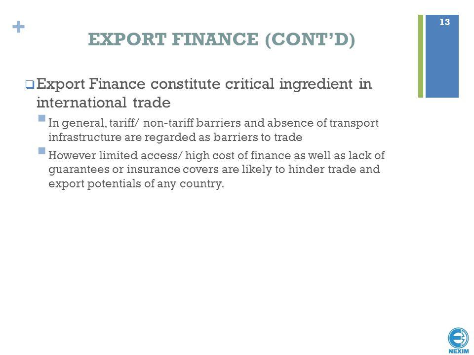 EXPORT FINANCE (CONT'D)