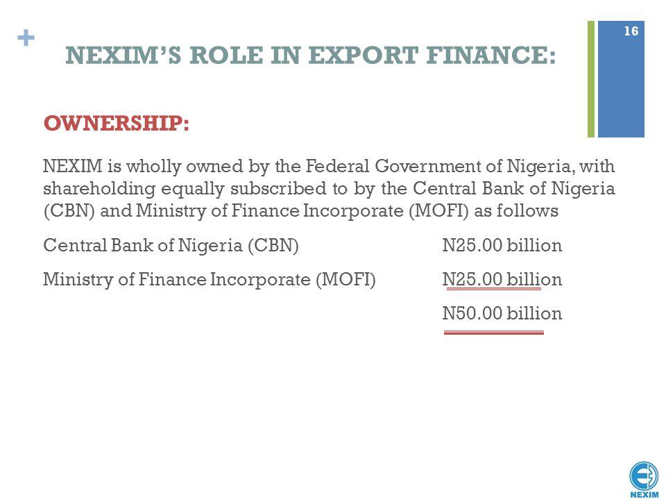 NEXIM'S ROLE IN EXPORT FINANCE: