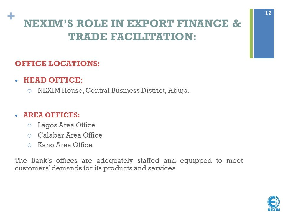 NEXIM'S ROLE IN EXPORT FINANCE & TRADE FACILITATION: