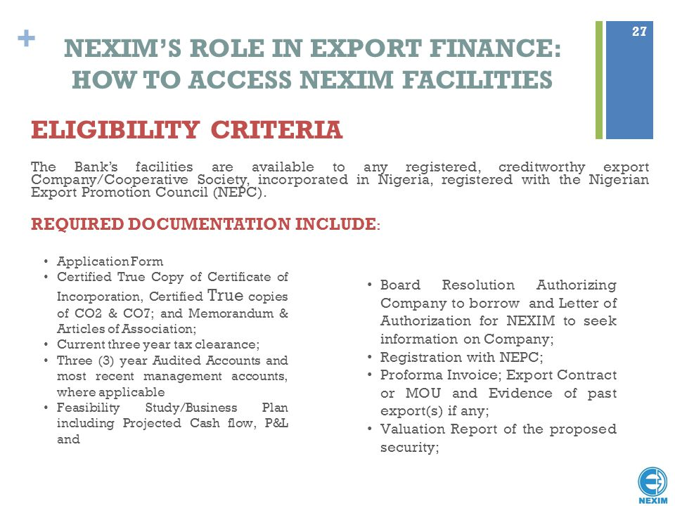 NEXIM'S ROLE IN EXPORT FINANCE: HOW TO ACCESS NEXIM FACILITIES