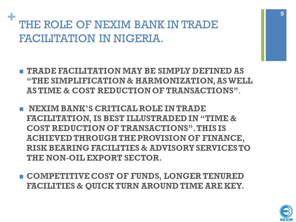 THE ROLE OF NEXIM BANK IN TRADE FACILITATION IN NIGERIA.