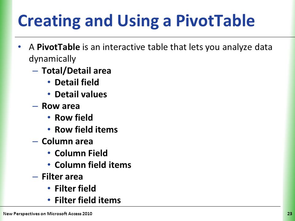 Creating and Using a PivotTable