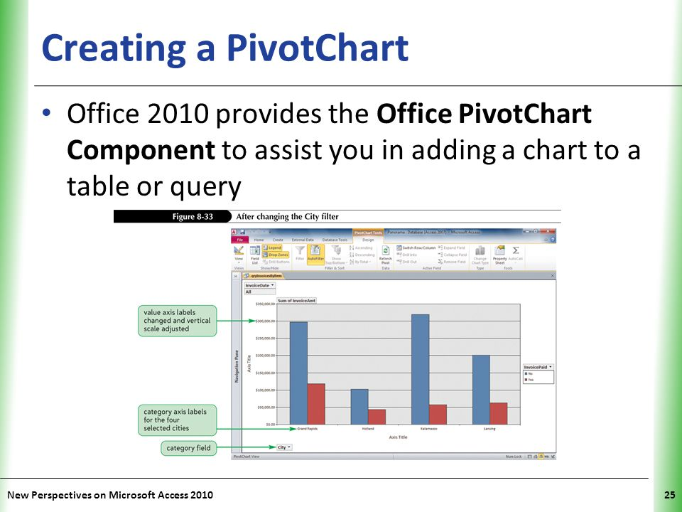 Creating a PivotChart Office 2010 provides the Office PivotChart Component to assist you in adding a chart to a table or query.