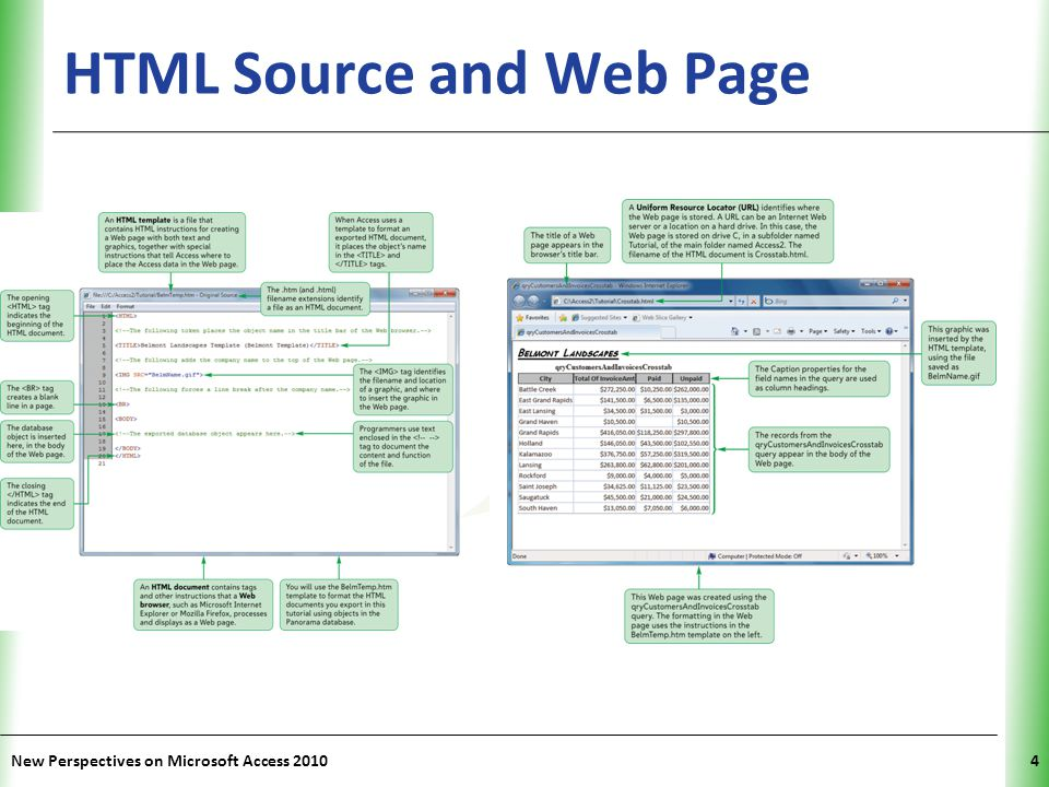 HTML Source and Web Page