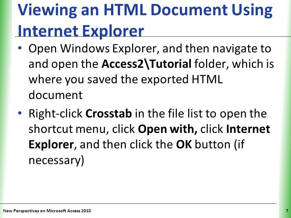 Viewing an HTML Document Using Internet Explorer