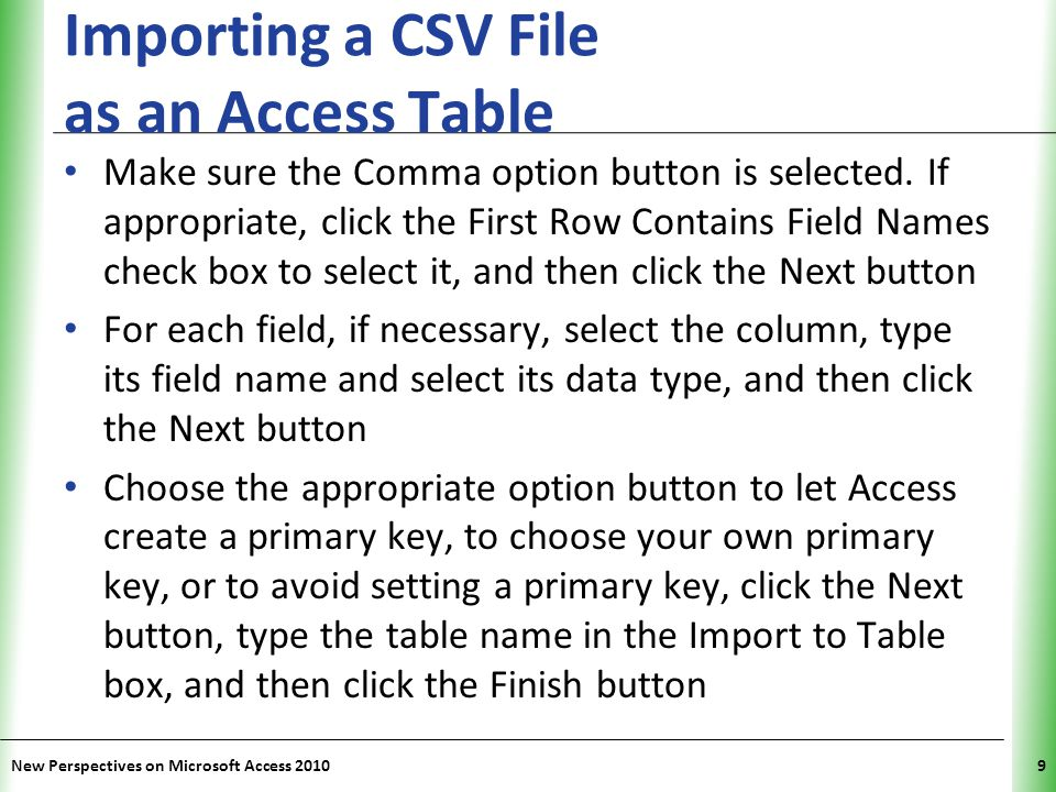 Importing a CSV File as an Access Table