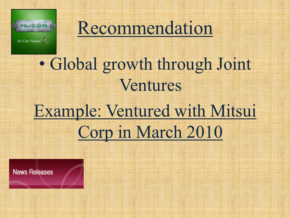 Recommendation Global growth through Joint Ventures