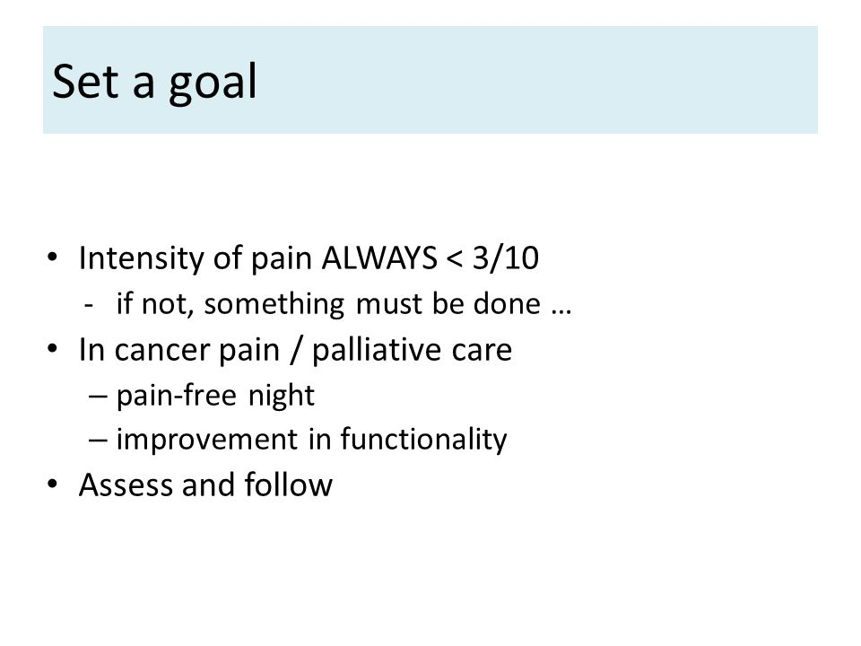 Set a goal Intensity of pain ALWAYS < 3/10