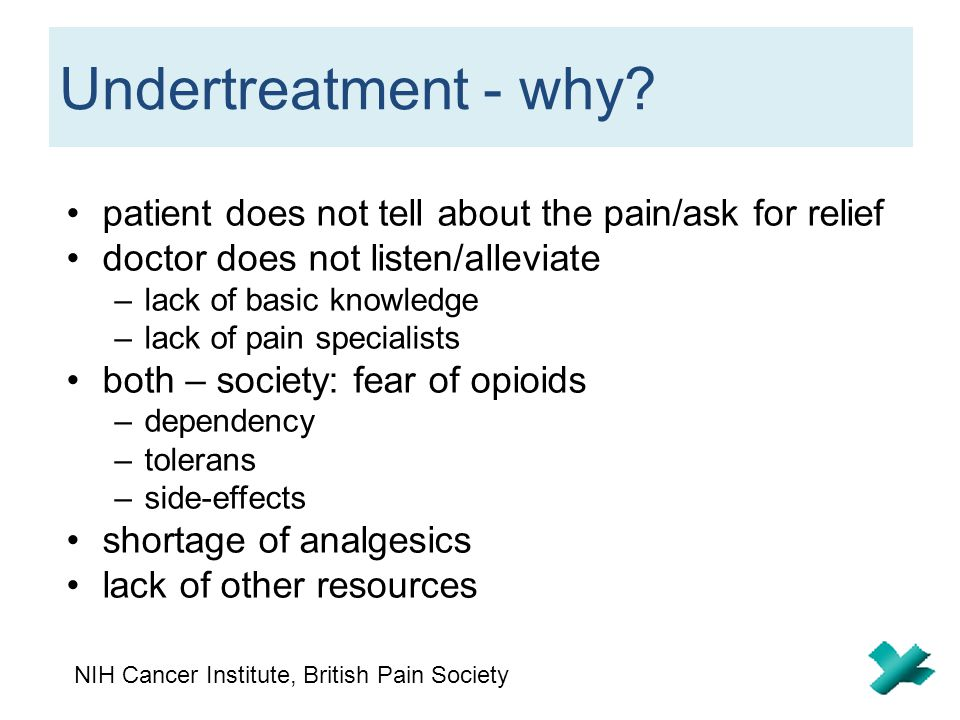 Undertreatment - why patient does not tell about the pain/ask for relief. doctor does not listen/alleviate.