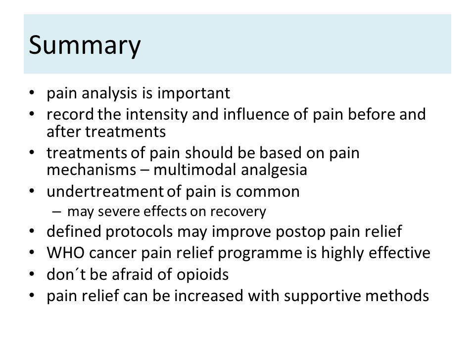 Summary pain analysis is important