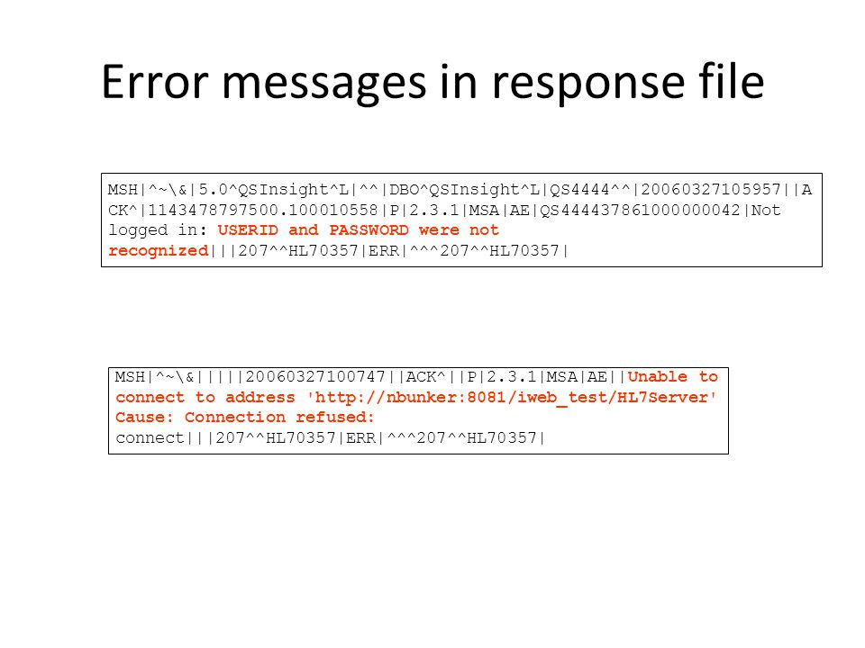 Error messages in response file