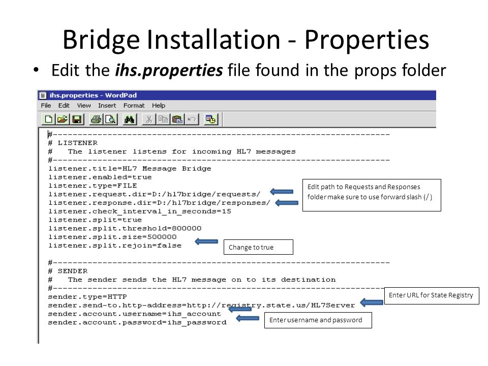 Bridge Installation - Properties