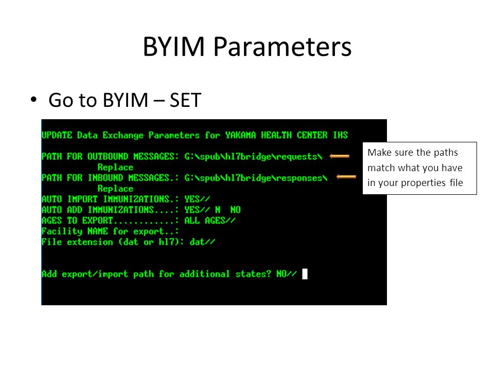 BYIM Parameters Go to BYIM – SET