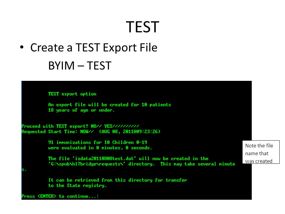 TEST Create a TEST Export File BYIM – TEST