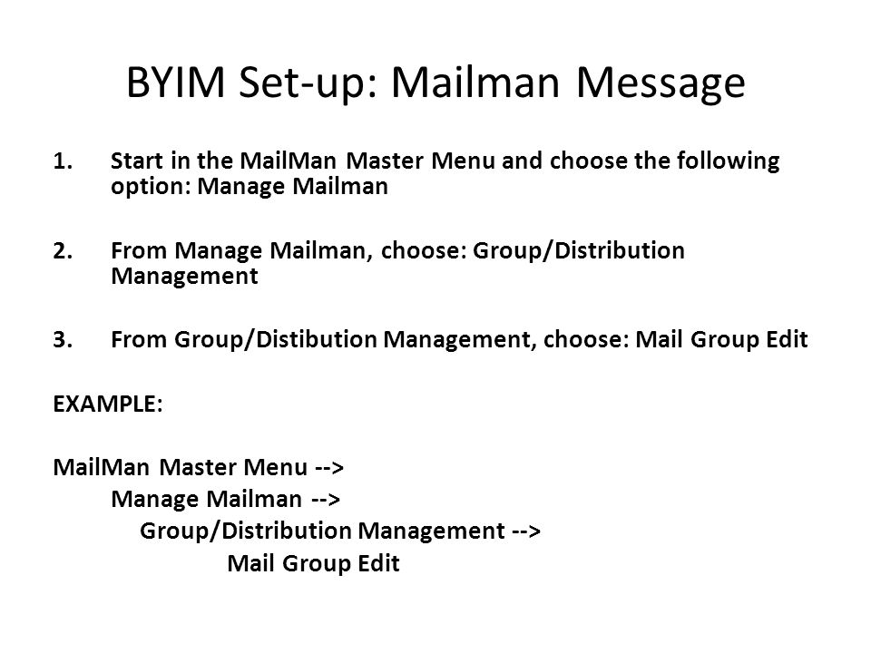 BYIM Set-up: Mailman Message