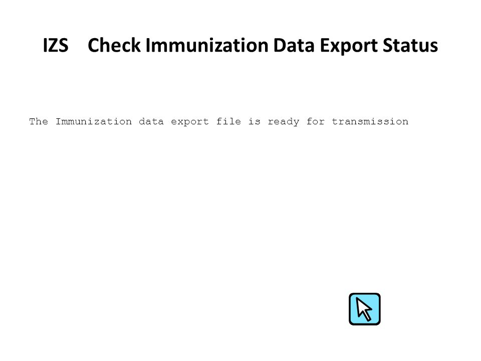 IZS Check Immunization Data Export Status