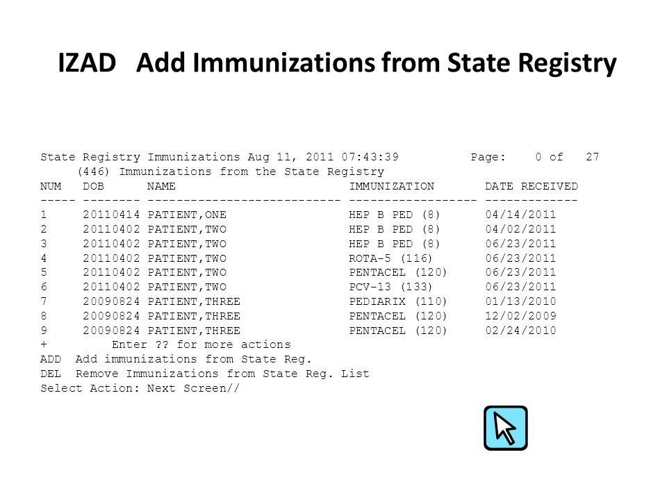 IZAD Add Immunizations from State Registry