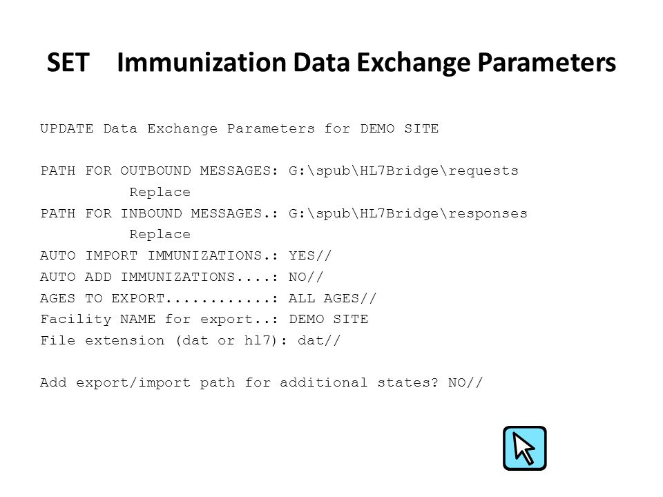SET Immunization Data Exchange Parameters