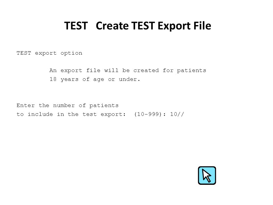 TEST Create TEST Export File