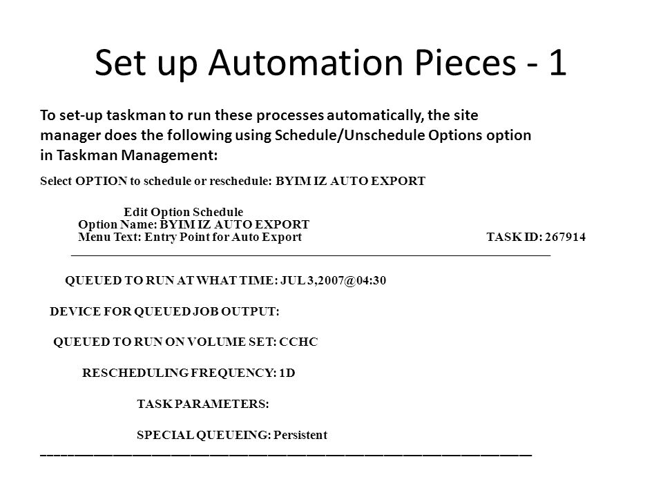 Set up Automation Pieces - 1